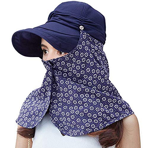 Face Back Mask Navy - Siggi Womens Summer Visor Cap Packable Sunhat with Detachable Neck Flap Face Mask UPF50 Navy Blue