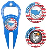 Hat Trick Openers 6-in-1 Golf Divot Tool & Poker Chip Marker Set with USA Logo, Royal