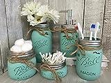 Painted Mason Jar Bathroom Set of 5 | SEAGLASS Rustic Distressed Farmhouse...