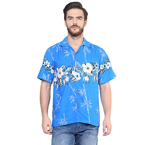 Alvish hawaiian shirts mens bamboo tree print beach aloha for Bamboo button down shirts