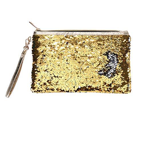 Yiwanjia ⭐>U<⭐ Creative Sequin Makeup Storage Bag Reversible Cosmetic Bag Fashion Sparkling Shiny Clutch Handbag Wedding Organizer Bag Purse Wallet Pouch (Gold ⭐>U<⭐) ()