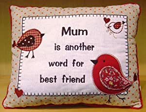 Rustic Mum Embroidered Cushion Mum Is Another Word For Best Friend by Shudehill