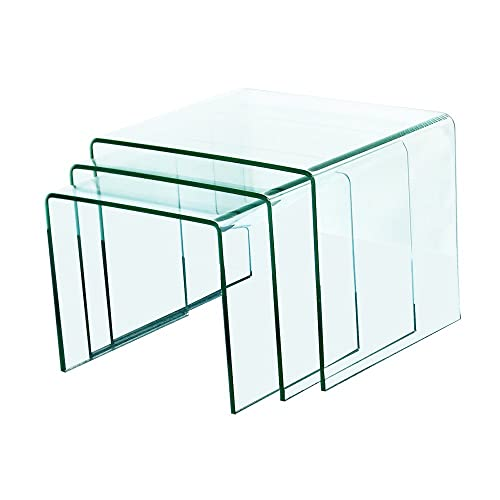 Fab Glass and Mirror Bent Glass Nest Tables, 3 8 Thick, Clear, 3 Piece