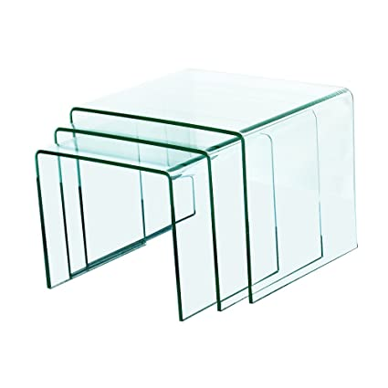 Fab Glass And Mirror Bent Glass Nest Tables, 3/8u0026quot; Thick, Clear