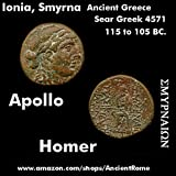 105 GR Poet Homer Seated / Apollo. Ionia, Syrmna. 105 BC. Ancient Greek Coin. %C6 Bronze Good