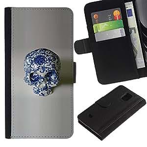 Be-Star la tarjeta de Crédito Slots PU Funda de cuero Monedero caso cubierta de piel Para Samsung Galaxy S5 Mini (Not S5), SM-G800 ( Porcelain Floral Design Skull White )