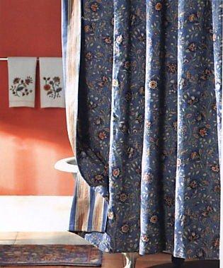 (C&F Home, Williamsburg Wakefield Fabric Shower Curtain Blue, 72x72)