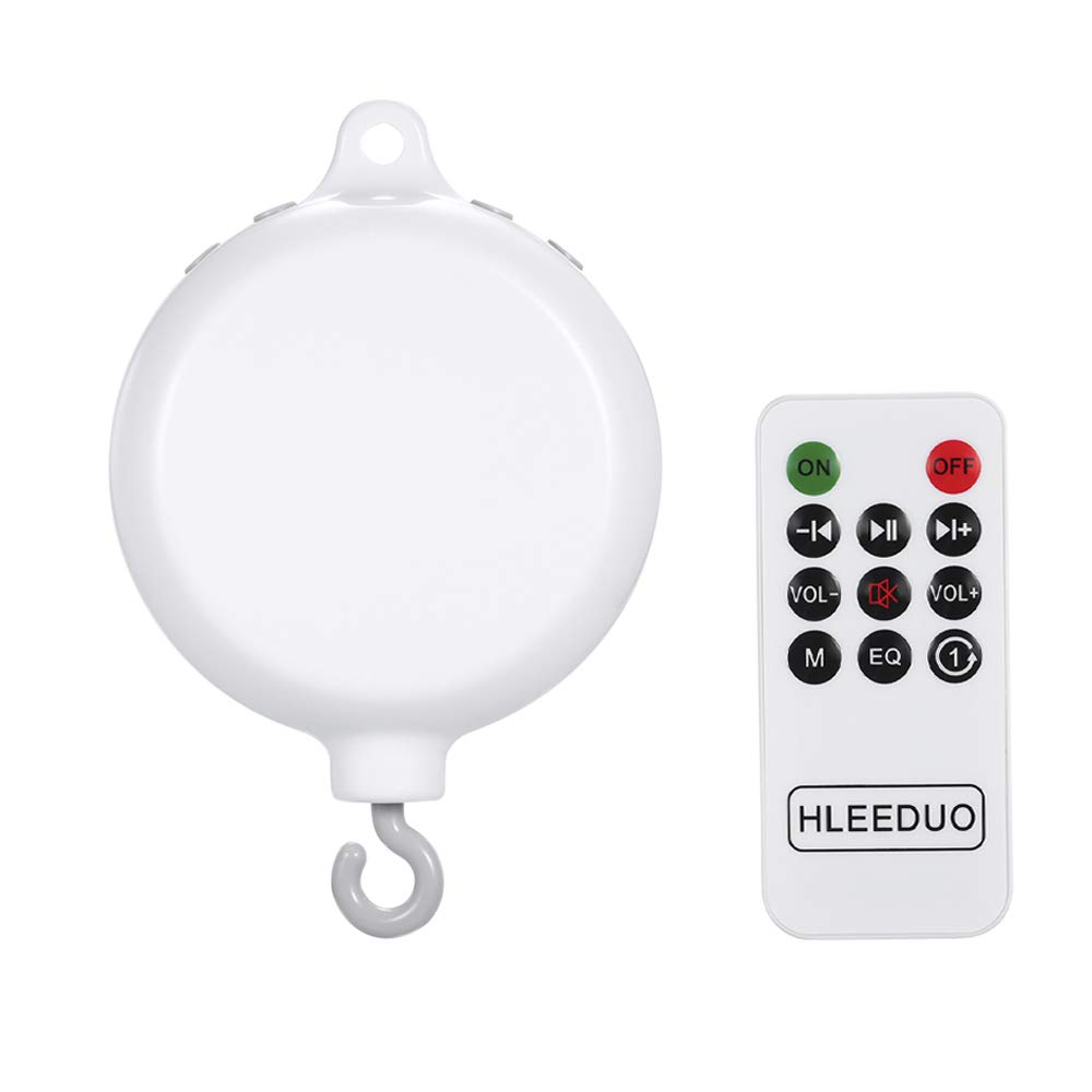 Decdeal Rotary Baby Crib Bed Toy Musical Mobiles 35 Songs Music Box Remote Control Movement Bells with USB Line for Kids