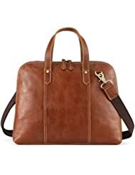 Kattee Unisex Genuine Leather Tote, Shell-Shape 14 Laptop Briefcase Handbag (Light Brown)