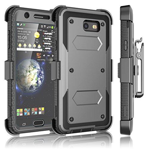 Tekcoo Galaxy J7 Sky Pro Case, Tekcoo Galaxy J7 V/J7V/J7 Perx Holster Clip, [TShell] [Built-in Screen] Locking Secure Swivel Belt Kickstand Phone Cover Full Body Case Cover for Samsung J7 2017 [Gray]