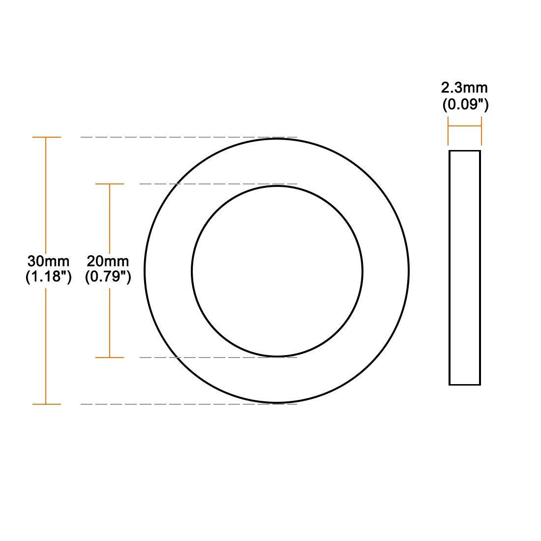 20 mm de di/ámetro interior 30 mm de di/ámetro exterior 2,3 mm de grosor Arandelas planas de goma 30 unidades