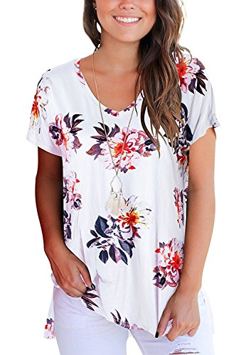Andaa Women's V Neck Summer Floral Printed Casual Tee Shirts Short Sleeve Side Slit Blouses Tops