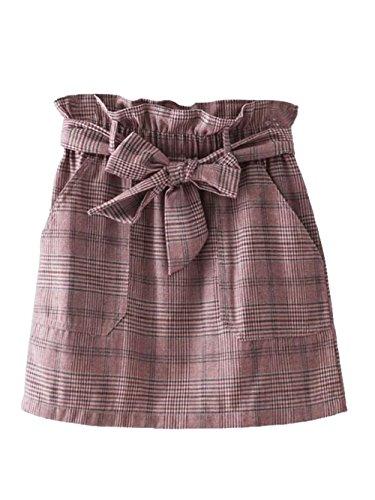 Mini Skirt Belted (SweatyRocks Women's Ruffle High Waist Plaid Skirt A-Line Mini Skirts with Belt Pink M)