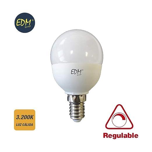BOMBILLA ESFERICA LED REGULABLE 5,5W 500 LUMENS E14 3.200K LUZ CALIDA EDM
