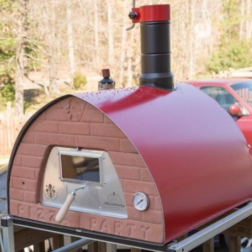 """Tuscany wood fired pizza oven mobile Pizza Party 70x70 """"RED"""" + door with glass"""