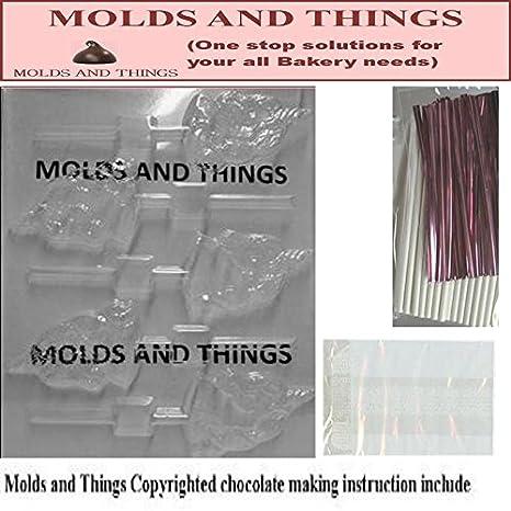 Moldes y cosas unicornio diseño de oveja y caracol moldes para Chocolate © con moldeado de instrucciones + juego de 25 de piruleta de embalaje: Amazon.es: ...