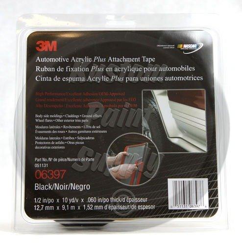 3M Company Automotive Acrylic Plus Attachment Tape 06397, Black, 1/2