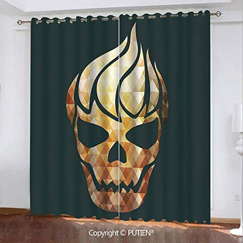 Satin Grommet Window Curtains Drapes [ Modern,Gothic Skull with Fractal Effects in Fire Evil Halloween Concept,Yellow Light Caramel Dark Grey ] Window Curtain for Living Room Bedroom Dorm Room Classro