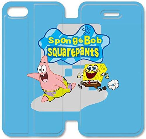 Flip étui en cuir PU Stand pour Coque iPhone 5 5S, bricolage 5 étui de téléphone cellulaire 5S étui en cuir Joyeux Spongebob Y9Y5OK Coque iPhone de protection unique