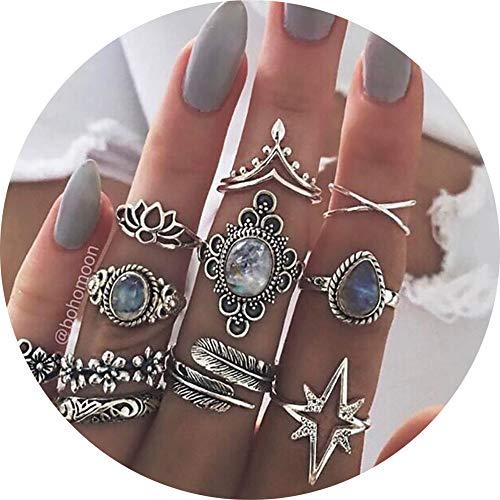 11 Pcs Vintage Women Mid Ring Set Flower Love Heart Rhinestone Joint Knuckle Nail Midi Ring Set ...