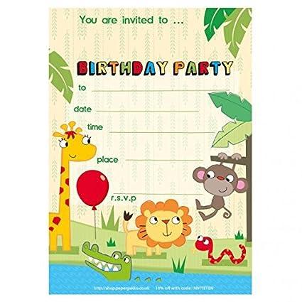20 Invitaciones De Cumpleaños Infantiles Para Fiestas Safari