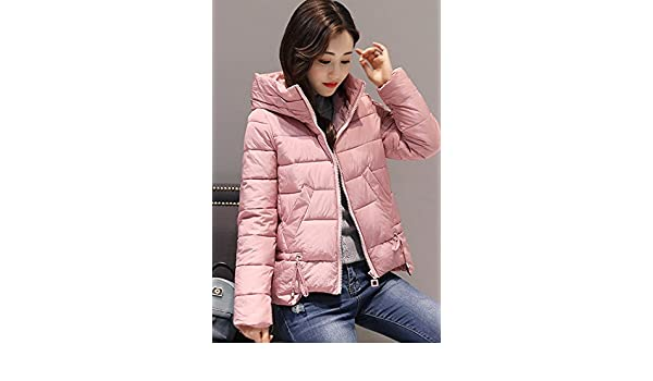 f05fc8424e Amazon.com  2018 Winter new Korean Slim thin casual fashion short paragraph  solid color hooded padded jacket down for women girl  Beauty