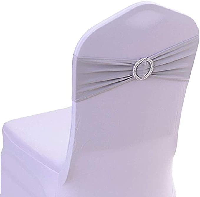 Half Flower Bridal 25PCS Chair Sashes Bows Elastic Chair Bands with Buckle Slider Sashes Bows for Wedding Decorations Silver