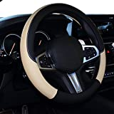 SHIAWASENA Car Steering Wheel Cover, Leather, Universal 15 Inch Fit, Anti-Slip & Odor-Free (Black&Beige)