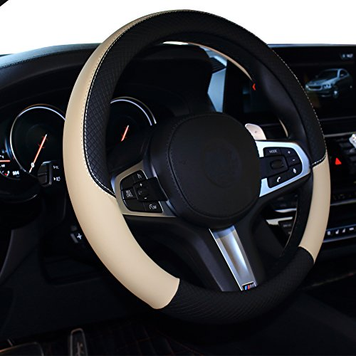 (SHIAWASENA Car Steering Wheel Cover, Leather, Universal 15 Inch Fit, Anti-Slip & Odor-Free (Black&Beige))