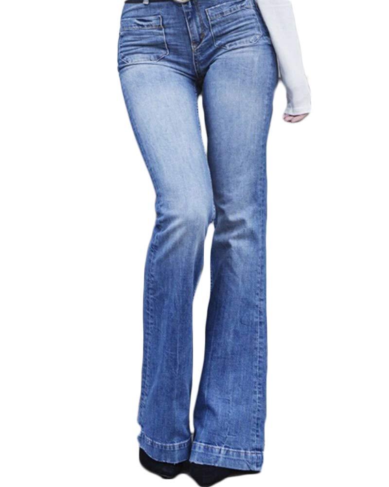Yonglan Jeans a Zampa Donna Vita Alta Slim Fit Denim Flared Pantaloni