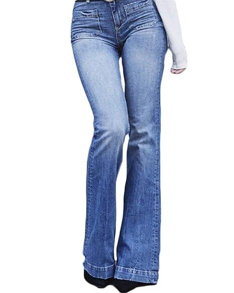 c20f10eb77790e Yonglan Jeans a Zampa Donna Vita Alta Slim Fit Denim Flared Pantaloni  Aspicture 2XL