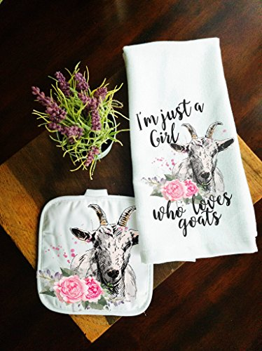 Kitchen Towel and Potholder Home Decor Gift Set Girl Loves Goats