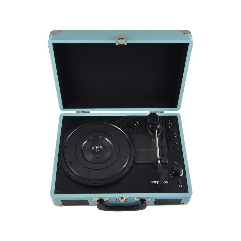 PRIXTON VC400 Tocadiscos de Vinilo Vintage y Convertidor a MP3 con 2 Altavoces y Bluetooth Azul