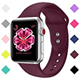 Booyi Sport Band Compatible With IWatch 38mm 42mm 40mm 44mm, Soft Silicone Replacement Bands Compatible With IWatch Series 4,3,2,1