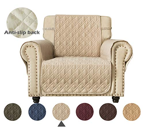 Ameritex Waterproof Nonslip Sofa Cover for Leather, Dog Couch Chair Cover Furniture Protector, Ideal Sofa Slipcovers for Pets and Kids, Stay in Place (Pattern1:Beige, ()