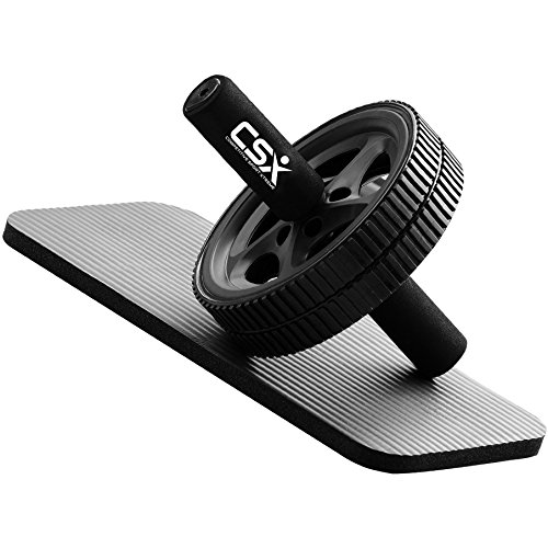 CSX Dual Ab Roller Wheel with Thick Knee Pad Mat and Foam Handles, Black – DiZiSports Store