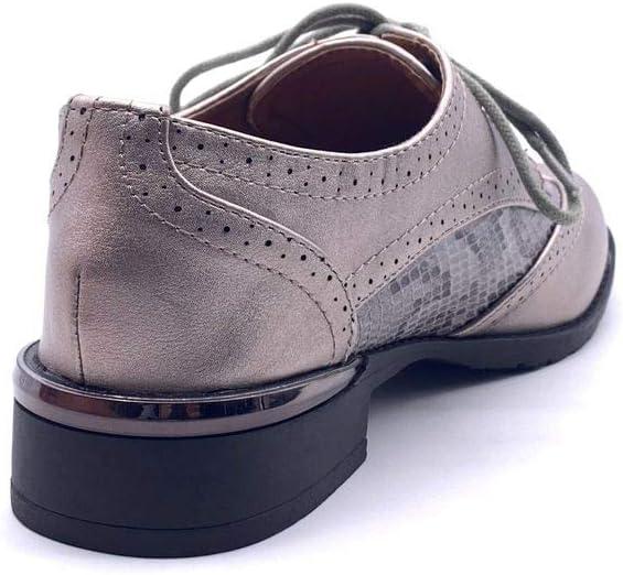 Chaussure Mode Derbies Richelieu Oxford BCBG /él/égant Femme Effet Peau de Serpent Python imprim/é Animal d/étail m/étallique Talon Bloc 3 CM Angkorly