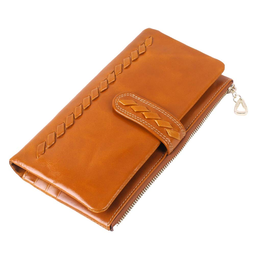 Brass Womens Blocking Large Capacity Wallet Wallet PU Leather Zip Around Phone Clutch Large Travel Purse Wristlet Leather Clutch Wallet Multi Card Organizer (color   Brass)