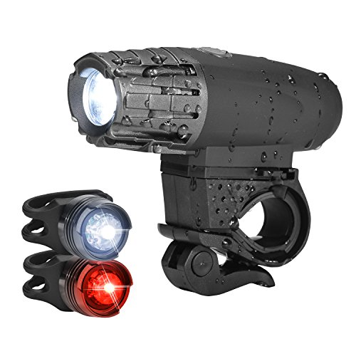 USB Rechargeable Bike Light Set, Ultra-Bright LED Bicycle Front and Tail Lights with 4+3 Lightening Modes Optional, Waterproof and Easy to Install for Cycling Safety Flashlight