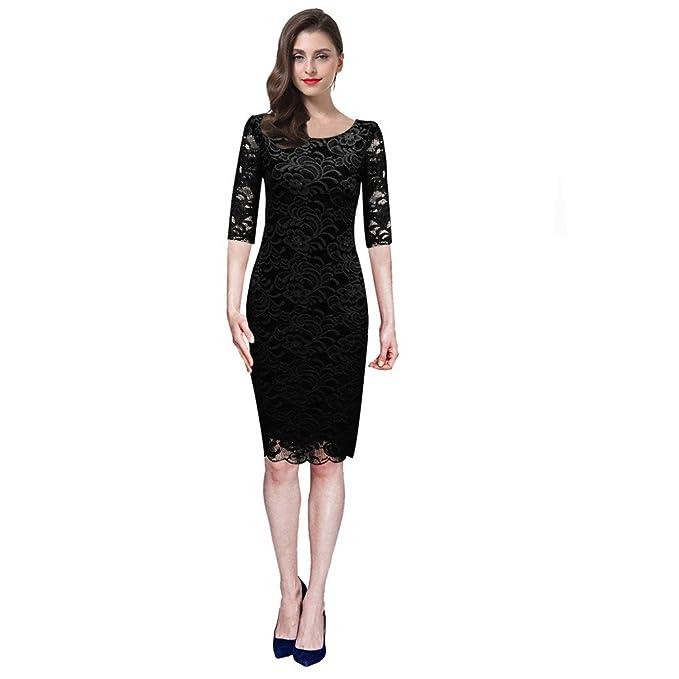71723c974e2ec Haroty Vestido Encaje para Mujer Cuello Ronda Vestido Lapiz Elegante  Vestidos de Fiesta de Noche  Amazon.es  Ropa y accesorios