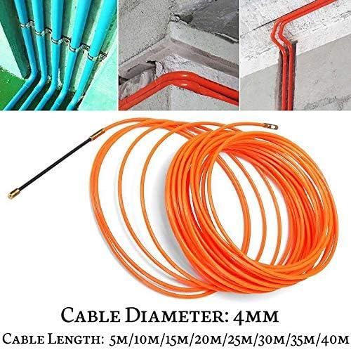 Summerwindy 4Mm 40 M/èTres De Dispositif De Guidage Orange En Nylon De Cable /éLectrique Push Pullers Duct Snake Rodder Fish Tape Wire