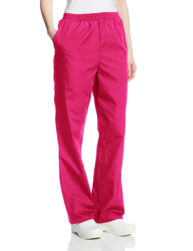 Large Azalea - Cherokee Women's Workwear Scrubs Pull-On Pant, Azalea, Large-Petite