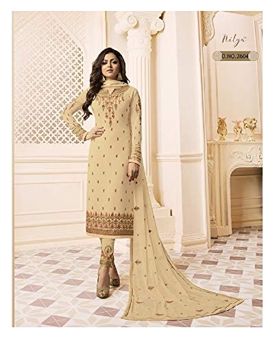 Laxminarayan Georgette Fabric Heavy Embroidered Designer Churidar Salwar Suit with Nazmeen Chiffon Dupatta (Medium, Yellow)