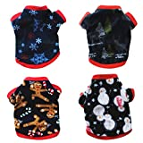 Bestanx Pet Christmas Costume Dog Puppy Doggie Warm Fleece Coat Winter Clothes Apparel Sweater Teddy Chihuahua Poodle Snowman Black L