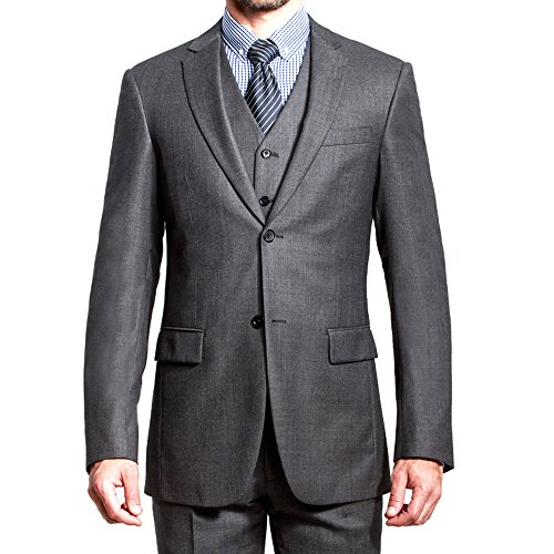 HBDesign Mens 3 piece 2 Button Notch Lapel Slim Trim Fit Modern Suite Dark Grey 50R by HBDesign