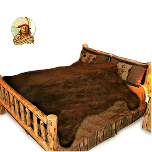Large Bear Skin Rug - Shag - Faux Fur - Bedspread - Blanket - Throw - Brown - Fur Accents - USA (8'x10') (Bear Skin Blanket)
