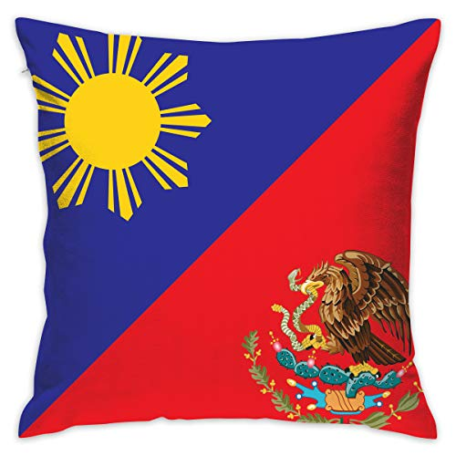 XIA WUEY Cotton Throw Pillow Case Philippines Mexico Flag Decorative Cushion Covers Daily Sofa Throw Pillow Case for Couch, Sofa, Office Chairs, Cars, Bars 18 X 18 Inch, 1 Piece