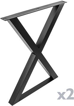 PrimeMatik - Pies en X para Mesa Patas en Acero Negro 590 x 50 x ...