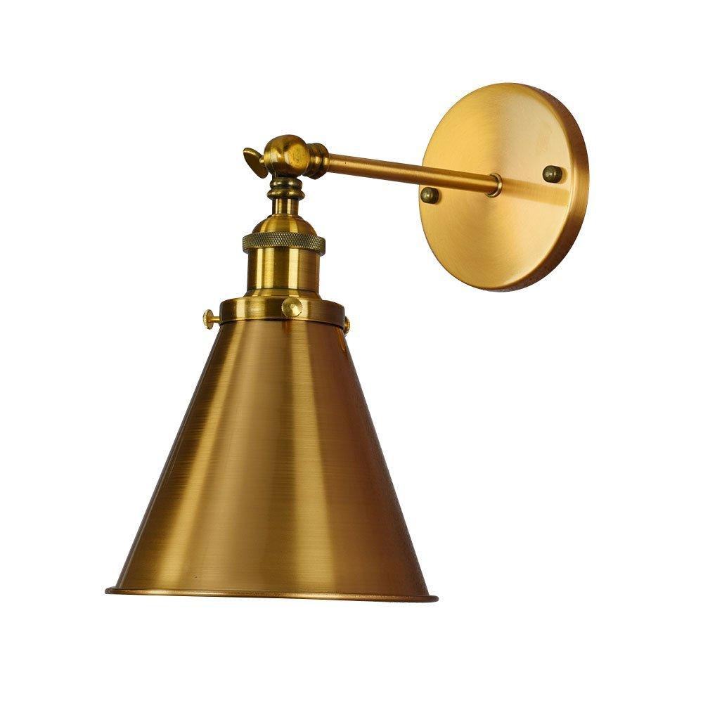 Wandleuchte Vintage Loft Industrielle einstellbare Up Down Wandleuchte Wandleuchte für Arbeitszimmer Büro, Küche, Schlafzimmer, Wohnzimmer, Café RestaurantLighting Dekoration Lampen, Gold-A