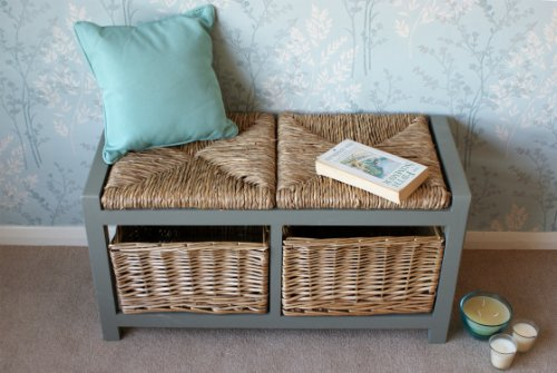 Gloucester 2 Seater Storage Bench in Blue Grey finish with 2 x Wicker Rattan Basket Drawers, Cabinet Farmhouse